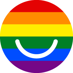 The logo designed with the LGBT Pride flag
