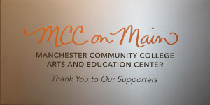 The MCC on Main sign welcomes guests to the gallery and Viscogliosi Entrepreneurship Center.