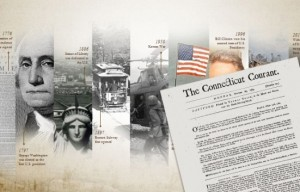 A timeline of the Courant. Courtesy of the Connecticut Historical Society