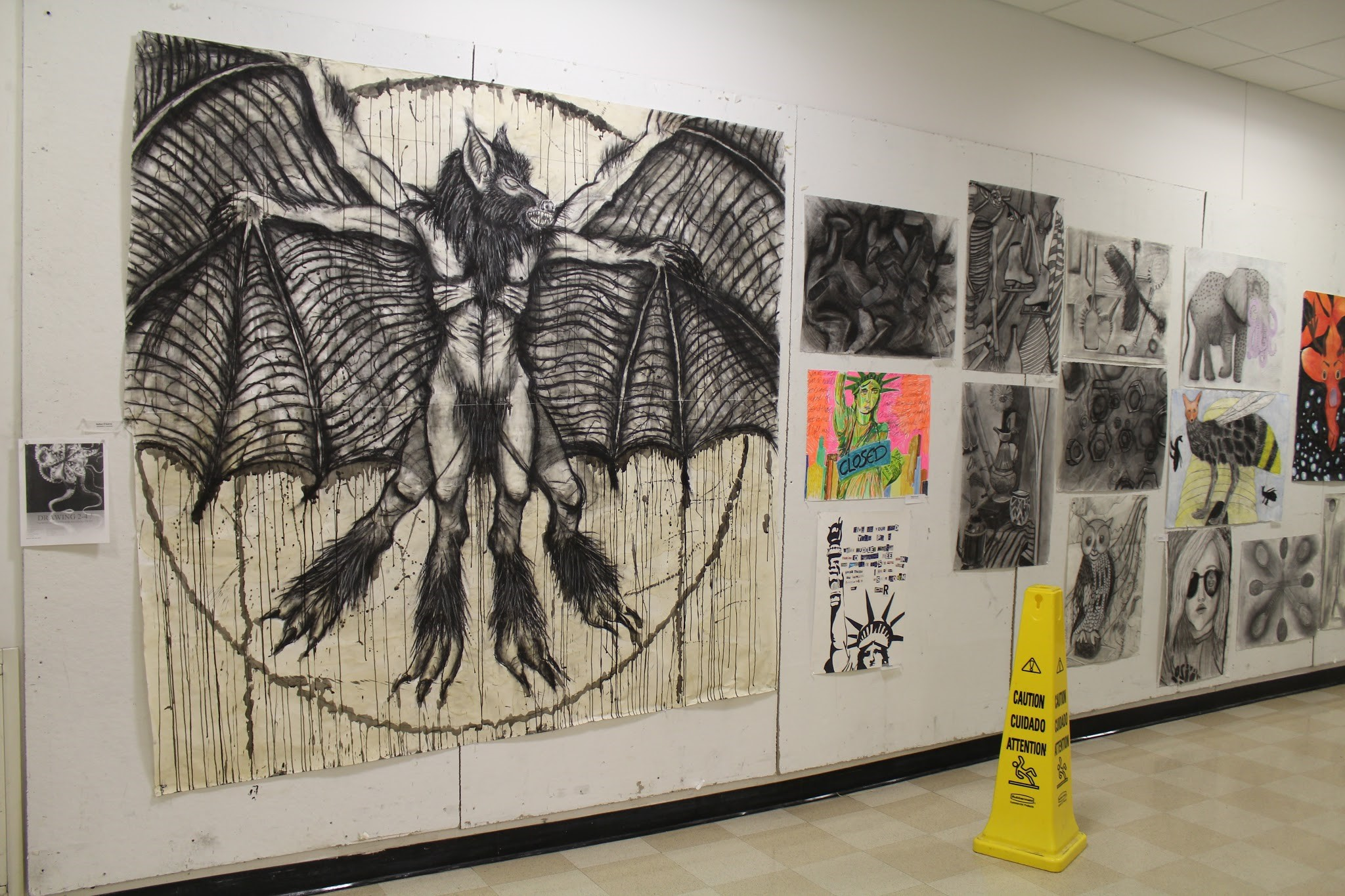 The demonic eagle is drawn by student Nathan D'Aversa. Photo by Chris DiBella.